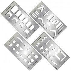 4pc Metal Nail Stamping Decal Making Guide Templates