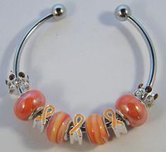 Leukemia Orange Cancer Awareness Bracelet - FREE SHIPPING