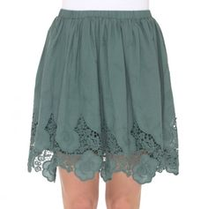 Elastic Waist Skirt with Crochet Lace Trim