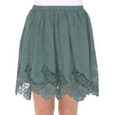 Elastic Waist Skirt with Crochet Lace Trim