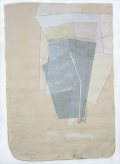Sharon Butler, Chute, 2012, pigment, binder, pencil, dirt on unstretched canvas stapled to the wall.