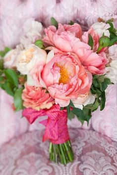 Pink peony #wedding bouquet - pretty for a beach wedding - fuchsia, blush and soft pink with green