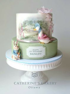 Not a Disney cake but I so love Beatrix Potter. With Jemima Puddleduck and Peter Rabbit. By Catherine's Cakery Ottawa Gorgeous Cakes, Pretty Cakes, Cute Cakes, Amazing Cakes, Yummy Cakes, Cake Wrecks, Beatrix Potter Cake, Beatrix Potter Nursery, Peter Rabbit Cake