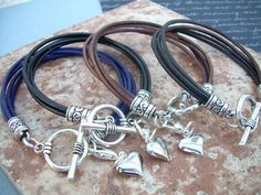 Womens Leather Bracelet, Four Strands with Puff Heart