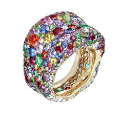 "Fabergé ""Emotion"" ring. #diamonds #rubies #sapphires #emeralds"