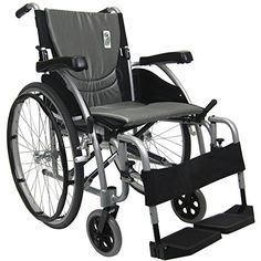 Wheelchairs Karman Healthcare S-Ergo115F18SS S-Ergo 115 18 in. seat Ultra Lightweight Ergonomic Wheelchair with Swing Away Footrest in Silver <3 This is an Amazon Associate's Pin. Find out more on Amazon website by clicking the image.
