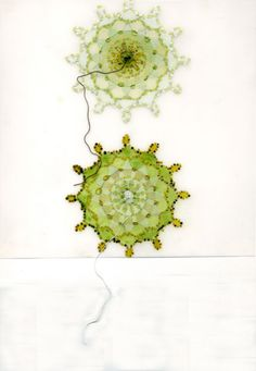 doily no.87 [green] 2010, acrylic, graphite, embroidery, on duralar, 10 x 10 inches framed