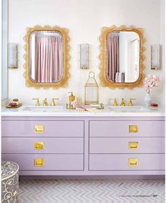 high gloss lilac? yes please. // #bath #vanity #gold
