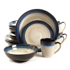 Gibson Couture Bands 16 Piece Dinnerware Set