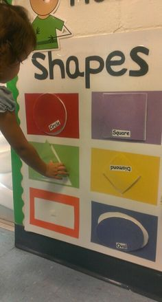 Matching shapes...  Made on poster board using construction paper & velcro :) i use it with my toddlers....