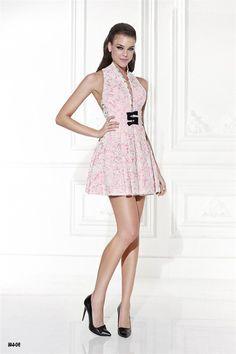 High Collar Lace Dress by Tarik Ediz 90446 Beautiful Cocktail Dresses, Unique Dresses, Stylish Dresses, Beautiful Dresses, Pretty Dresses, Designer Cocktail Dress, Short Cocktail Dress, Shirts & Tops, Pink Party Dresses