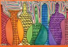 overlapping bottles to create the color spectrum. 5th grade review? primary, secondary, and tertiary colors