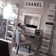 CHANEL relived. Get inspired & see more amazing Beauty Room Designs at http://thebeautyroom.abeautyfulworld.com/.