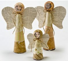 What a cute craft for Christmas! Turn your family into angels by making a Cheerful Cone Angel Family.