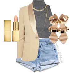 A fashion look from March 2015 featuring Ralph Lauren Black Label blazers, Giuseppe Zanotti sandals and French Connection necklaces. Browse and shop related lo… Cute Swag Outfits, Chic Outfits, Summer Outfits, Fashion Outfits, Womens Fashion, Fashion Trends, Denim Fashion, Look Fashion, Swagg