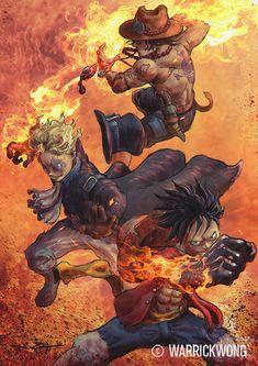 Fire Fist Brothers by Warrick Wong One Piece Series, One Piece Ace, One Piece Comic, One Piece Fanart, One Piece Luffy, Manga Anime One Piece, I Love Anime, Anime Manga, Anime Art
