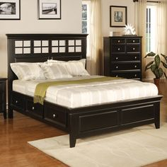Wood bed frame. With storage drawers