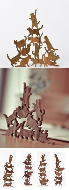 "Wooden Cat Stacking Game. $19.99 - Each set includes six cats in various poses. Laser cut from solid teak, the cats come in 4 different sets including a vast array of cat poses such as the ""stretch & yawn"", ""play time"", ""shrug of indifference,"" and the classic ""feed me or I'll bite your legs."" Cats measure approx. 1"" x 1"":"