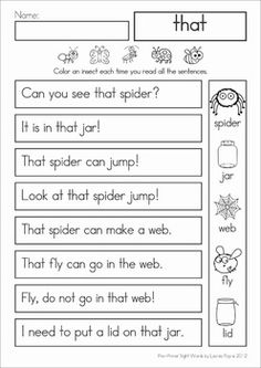 Sight Words Fluency Reading Homework (Pre-Primer). These sight word sentences are perfect for beginning readers to help build confidence and develop reading fluency.