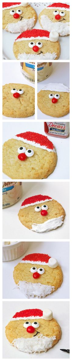 Santa sugar cookies that are cute and beyond easy to make. Great sensory food activity for kids with food aversions to play and get more comfortable with food and different textures Christmas Deserts, Christmas Goodies, Holiday Desserts, Holiday Baking, Christmas Candy, Holiday Treats, Holiday Recipes, Party Treats, Xmas Food