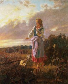 "Jozef Chelmonski  ""In the Garden"", 1869, oil on canvas, 53.5 x 44.5 cm, Museum of Art, Lodz"