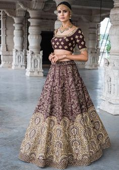 Fancy Wine Purple Rubi Silk Heavy Embroidered Wedding Wear Lehenga Choli You would look like a diva when you dress yourself in this stylish wine purple color designer wedding wear lehenga choli will give you new look in your upcoming wedding function. Designer Bridal Lehenga, Bridal Lehenga Choli, Indian Lehenga, Silk Lehenga, Designer Lehanga, Silk Dupatta, Pakistani, Indian Attire, Indian Wear