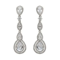 """Silver - Pear, round and marquise cubic zirconia stone drop earrings with a pave look. - Approximately 2"""" length - Brass post - Lead and nickel safe"""