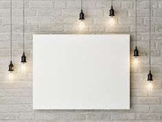 This Free canvas painting mockup on a wall allows you to showcase your artwork on a white brick wall between hanging bulbs. Poster Paint, Poster Wall, Mises En Page Design Graphique, Background Powerpoint, Web Design, Graphic Design, Free Canvas, Photoshop, Backgrounds Free