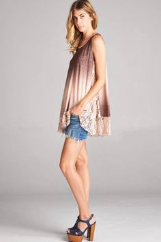 Womens Tops - Ombre Lace Panel Top - Peach