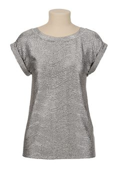 Roll Sleeve Textured Top available at #Maurices