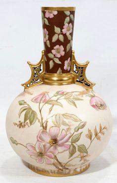 Hand-painted Austrian porcelain vase, c. 1880.