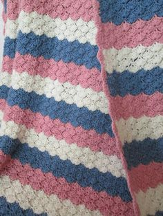 Afghan, Throw Blanket LADIES FAN Pattern Crochet in Stripes of Pink, Blue and Cream 72 x 86 Blue Blanket, Afghan Blanket, Loom Blanket, Knit Cardigan Pattern, Patchwork Pillow, Fabric Samples, Vintage Crochet, Crochet Projects, Crochet Patterns