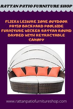 Crafted with solid steel frame and high-quality all-weather PE rattan wicker, it can well stand for both test of time and high temperature. The daybed is durable enough to withstand rain and wind for year-round use. Designed for outdoor use. Poolside Furniture, Backyard Furniture, Backyard Patio, Outdoor Furniture, Outdoor Decor, Rattan, Wicker, Retractable Canopy, Daybed