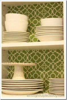 """A """"thoughtful"""" idea - lining your cabinets in your kitchen with fabric. I LOVE this idea to add some color to the kitchen, even if the cupboards aren't open or visible all the time. 