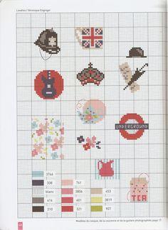 0 point de croix grille et couleurs de fils de veronique enginger, londres, symboles anglais