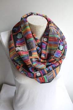 Bookshelf Infinity Scarf Book Scarf Library Scarf by dreamexpress
