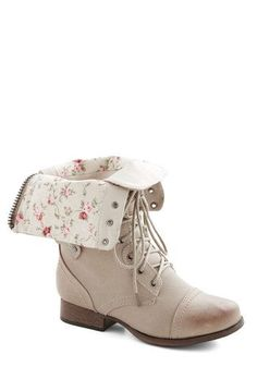 Light tan, floral print combat boots