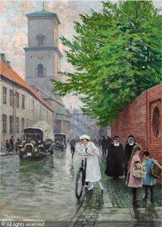 Paul Gustave Fischer (1860-1934):  On Nørregade, Vor Frue Kirke, the national cathedral in Copenhagen