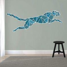 Muursticker Cheetah springend - kleur