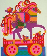 parade horse, retro, kitsch, simple, illustration