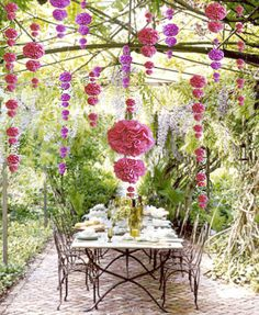 Cascading pom-poms for an outdoor setting