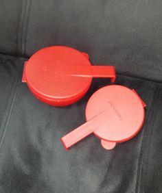 Vintage Tupperware Forget Me Not, #4518 and 4201 - RED - Veggie or Fruit Keeper by TeresaScholleDesigns on Etsy