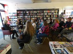 An enraptured audience listens to Renee Knight discuss her debut novel, Disclaimer, with Transworld's Alison Barrow on June 9th.