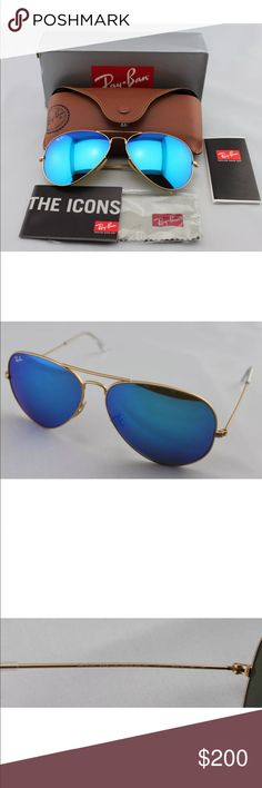 19929ac574 New Authentic Blue Aviator Ray Bans New Authentic Blue Aviator Ray Bans  Size: 58mm with gold frame Included: Case,cleaning cloth, and booklets Ray- Ban ...