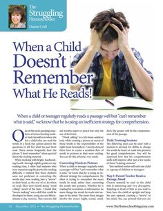 Reading Comprehension - great article! - The Homeschool Magazine