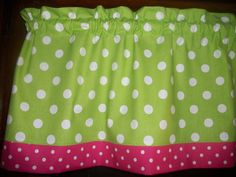 "Lime Green Polka-Dot Pink White window topper curtain 13"" by 42"" Valance #Handmade"