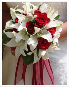 Long lily bouquet with red roses