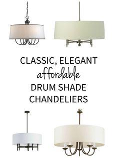 Classic, elegant lighting - drum shade chandelier pendants priced on a budget!