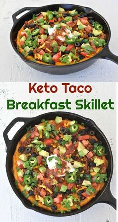Keto Taco Breakfast Skillet | Peace Love and Low Carb via @PeaceLoveLoCarb