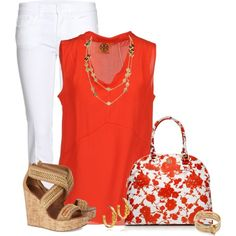 Tory Burch - Orange & White
